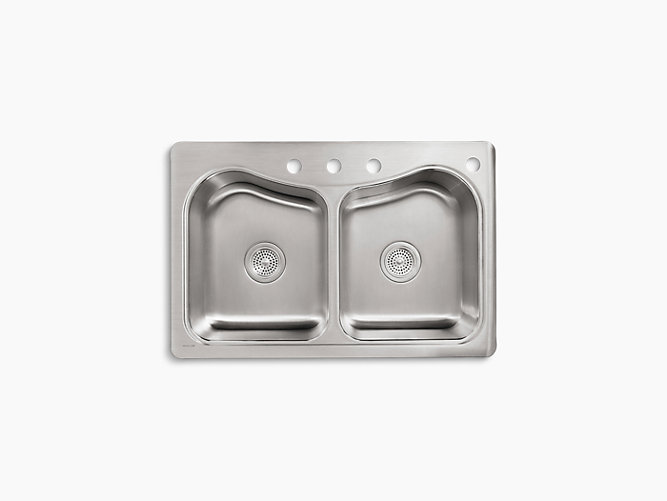 Staccato 33 inch top mount sink with four faucet holes k 3369 4 kohler workwithnaturefo