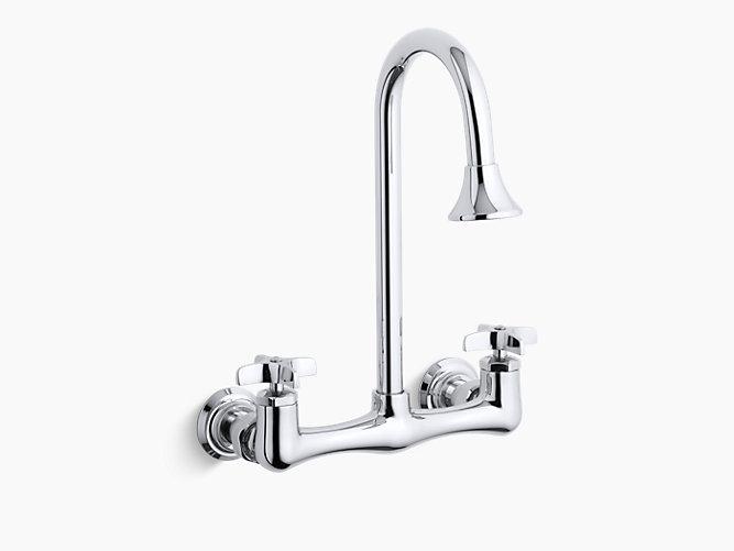 K 7319 3 Triton Double Cross Handle Utility Sink Faucet With Rosespray Gooseneck Spout Kohler