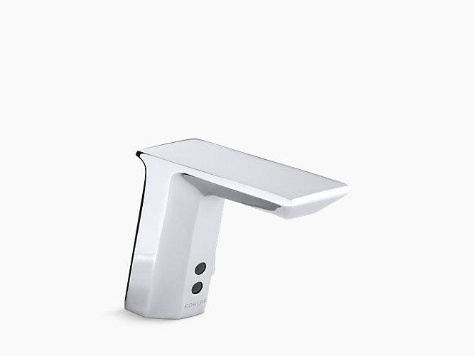 Geometric Single Hole Touchless Hybrid Energy Cell Powered Commercial Bathroom Sink Faucet With