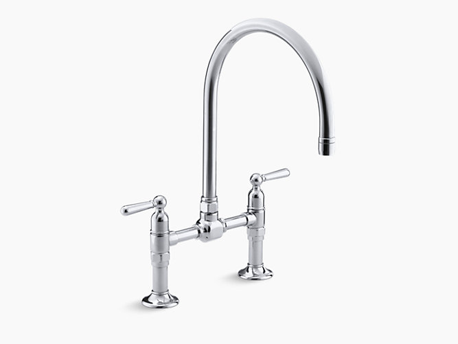 HiRise? two-hole deck-mount bridge kitchen sink faucet