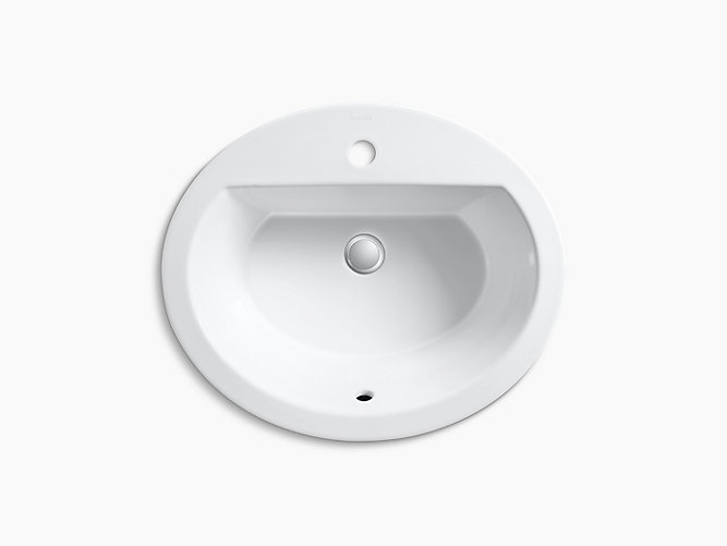 Bryant Oval Drop In Sink With Single Hole And Overflow K 2699 1 Kohler