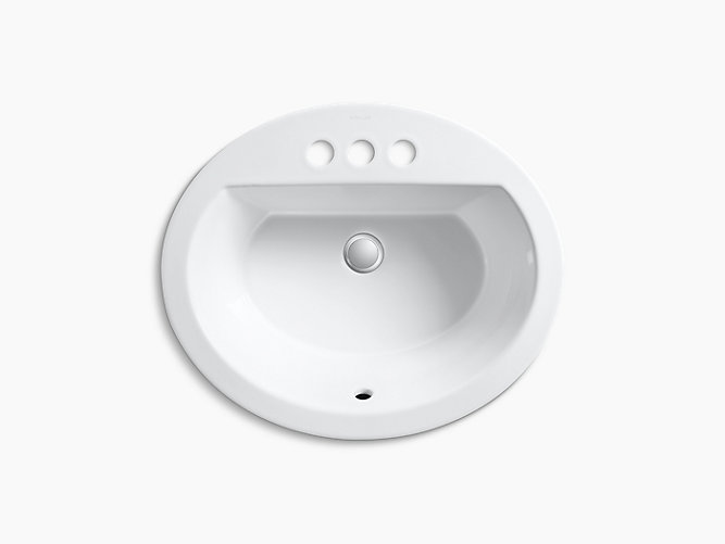 Bryant Oval DropIn Sink W Inch Centers And Overflow K - Black drop in bathroom sink