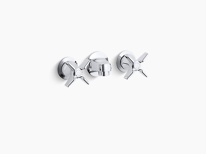 K 8046 3a Triton Shelf Back Commercial Bathroom Sink Faucet With Grid Drain And Cross Handles Kohler