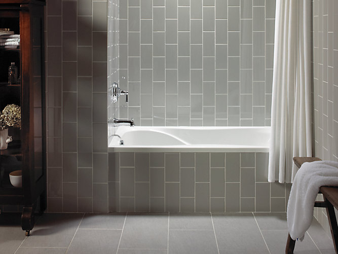 K 1219 l hourglass 60 x 32 alcove commercial bath with for Bathroom tiles vertical or horizontal