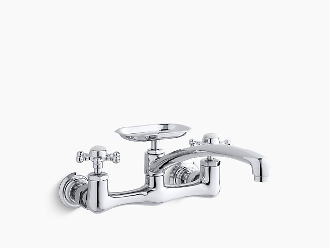 Antique Wall-Mount Sink Faucet with 12-Inch Spout | K-159-3 | KOHLER