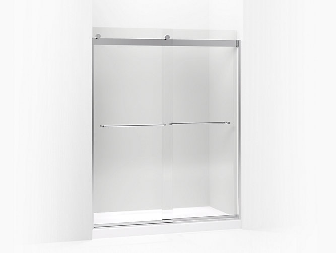 Levity Sliding Shower Door 74 H X 56 5 8 59 W With 1 4 Crystal Clear Gl And Towel Bars
