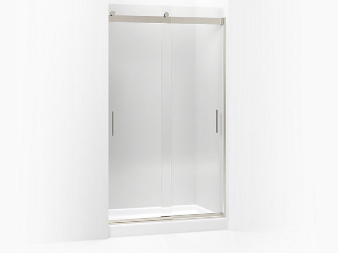 Levity Sliding Shower Door 82 H X 44 5 8 47 W With 3 Thick Crystal Clear Gl And Blade Handles