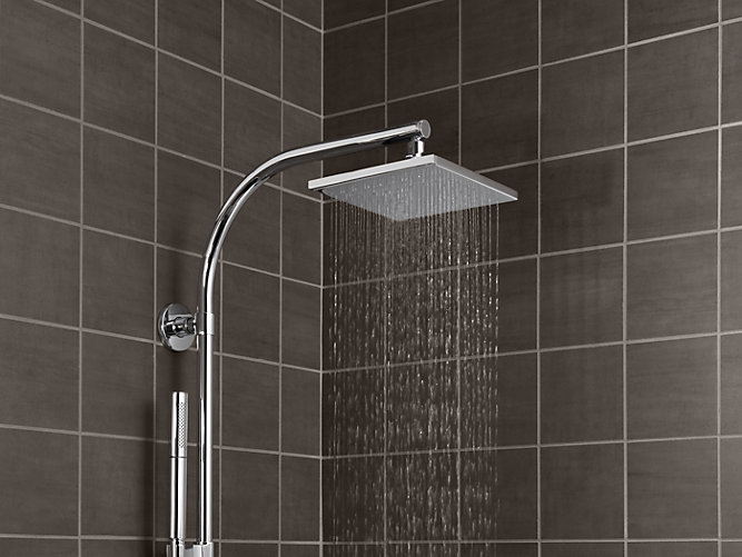 K-13695 | 8-Inch Contemporary Square Rain Showerhead, 2.5 GPM | KOHLER