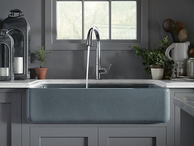 Whitehaven Self Trimming Smart Divide 35 Undermount Large Medium Double Bowl Kitchen Sink W Tall Apron K 6427 Kohler Kohler
