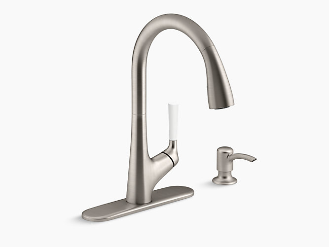 K r562 sd malleco pull down kitchen sink faucet with for Faucet soap dispenser placement
