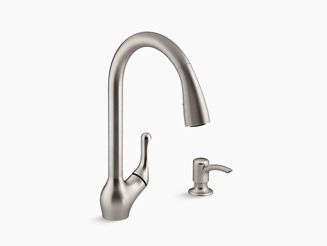 p kitchen kohler solid out with alfi commercial stainless pull faucet spray down spring steel shower brand