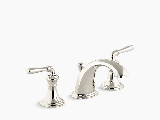 K 394 4 devonshire widespread sink faucet with lever handles kohler for Two tone widespread bathroom faucets