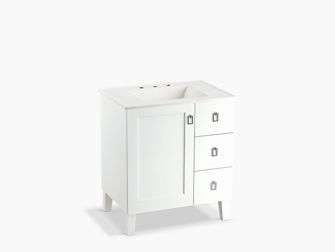 Poplin 30 Bathroom Vanity Cabinet With Legs 1 Door And 3 Drawers On Right