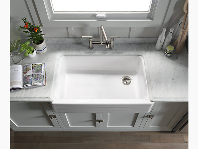 Kohler 6351 Whitehaven 35 11 16 X 21 9 16 X 9 5 8 Under Mount Single Bowl Kitchen Sink With Tall Apron And Hayridge Design
