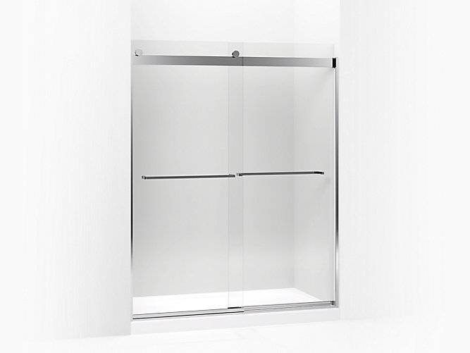 Levity Sliding Shower Door 74 H X 56 5 8 59 W With 3 Thick Crystal Clear Gl And Square Towel Bar