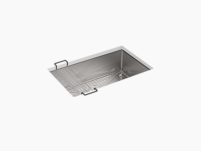 Strive 29 Undermount Medium Single Bowl Kitchen Sink W Sink Rack K 5409 Kohler Kohler