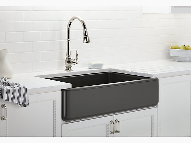 Undermount single-bowl farmhouse kitchen sink