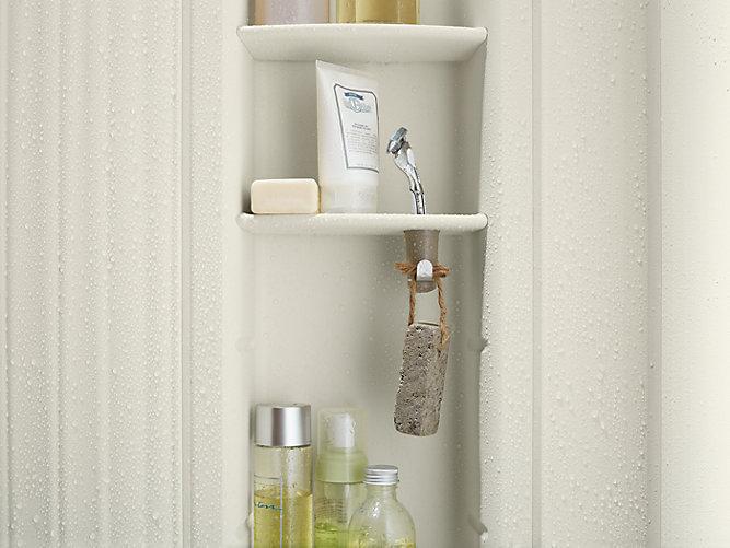 teak in kohler tray silver use finish shelf faucet com shower k na choreograph