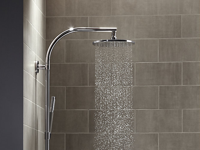 rain shower head with wand. Share your style  KohlerIdeas 10 Inch Contemporary Round Rain Showerhead 2 5 GPM K 13689 KOHLER