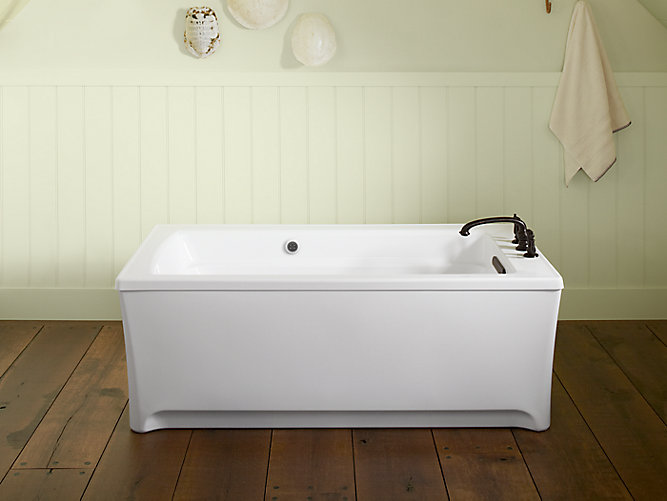 K-2593-GW | Archer 62-In Freestanding BubbleMassage Bath with Bask ...