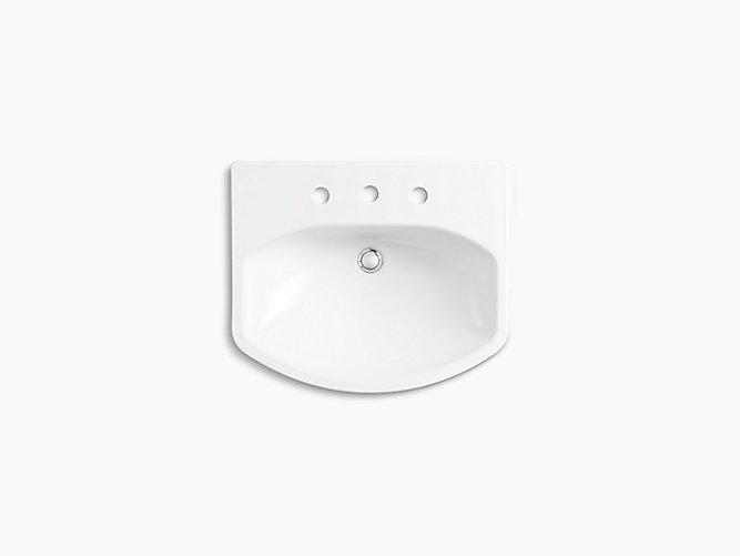 K R5337 8 Elmbrook Pedestal Bathroom Sink Basin With 8 Widespread Faucet Holes Kohler