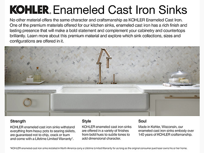 Whitehaven Self Trimming 29 Undermount Single Bowl Kitchen Sink W Tall Apron K 6487 Kohler Kohler