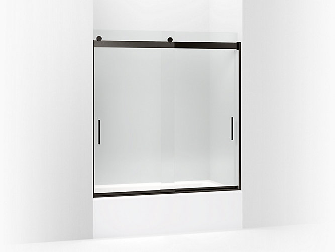 Levity Sliding Bath Door 62 H X 56 5 8 59 W With 3 Thick Crystal Clear Gl And Blade Handles