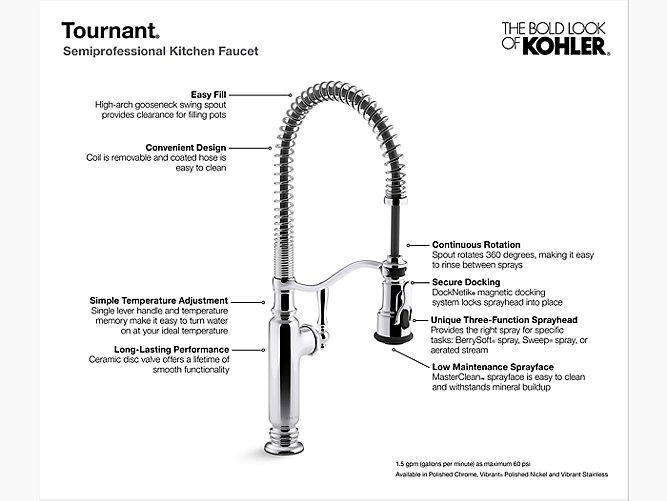 K 77515 Tournant 174 Semi Professional Kitchen Sink Faucet