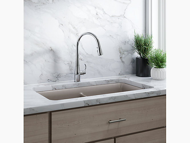 Simplice® single-hole or three-hole kitchen sink faucet with 16-5/8\