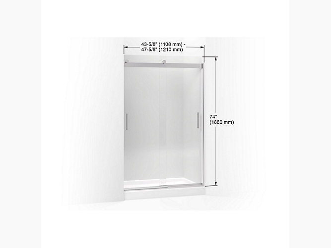 Levity Sliding Shower Door 74 H X 43 5 8 47 W With 1 4 Thick Crystal Clear Gl And Blade Handles