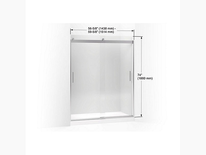 Levity Sliding Shower Door 74 H X 56 5 8 59 W With 1 4 Thick Crystal Clear Gl And Blade Handles