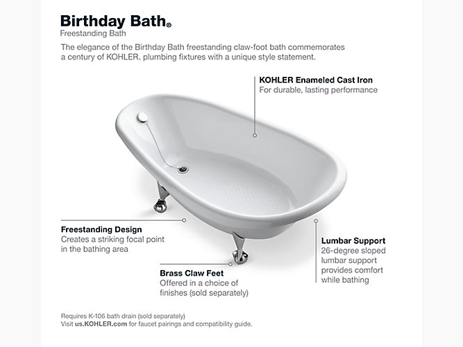 K 100 Birthday Bath Freestanding