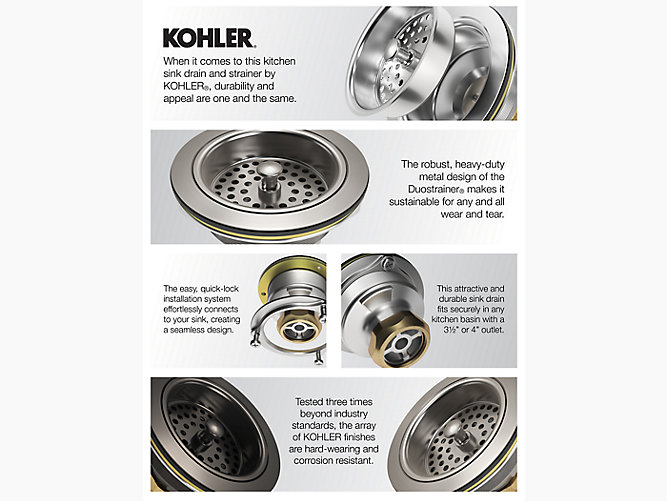 Kohler 8801 Duostrainer R Manual Sink Strainer With Tailpiece