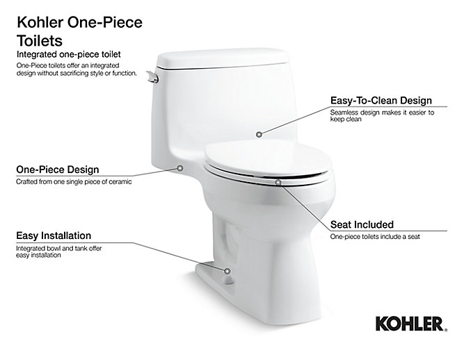 K-3722 | San Raphael One-Piece Elongated Toilet, 1 28 GPF | KOHLER