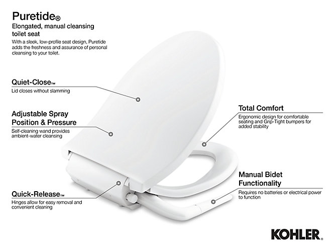 Kohler 76923 Puretide Quiet Close Round Front Manual Bidet Toilet Seat