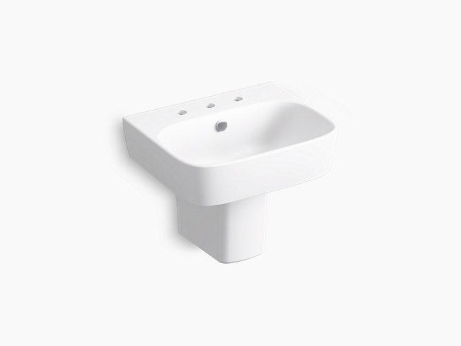 Modernlife Wall Mounted Pedestal Bathroom Sink With Semi Pedestal And Shroud And 8 Widespread Faucet Holes And Rectangular Basin K 77768 8 Kohler Kohler