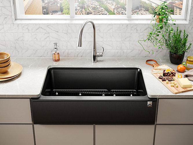 Undermount Single Bowl Farmhouse Kitchen Sink With Fluted Design And Tall Apron K 25788 Kohler Kohler