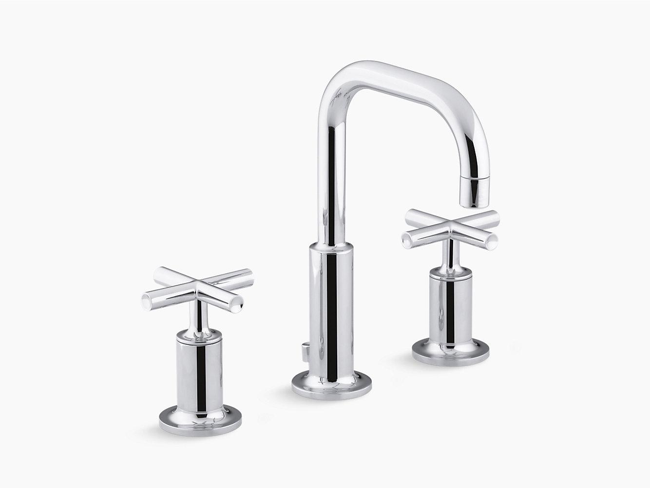 Purist Widespread Sink Faucet with Low Cross Handles | K-14406-3 ...