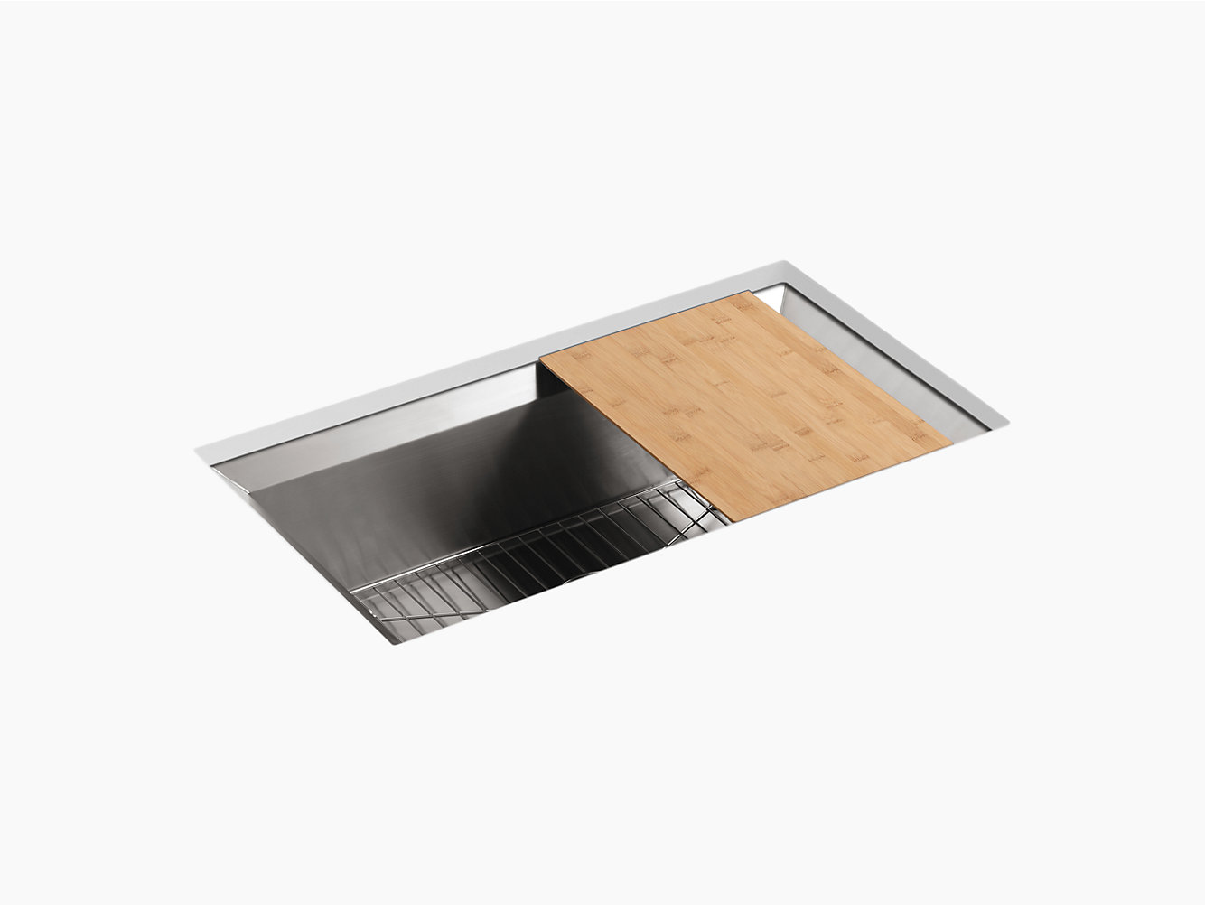 Kohler 3158 Poise 33 X 18 9 3 4 Under Mount Single Bowl Kitchen Sink With Cutting Board And Bottom Rack