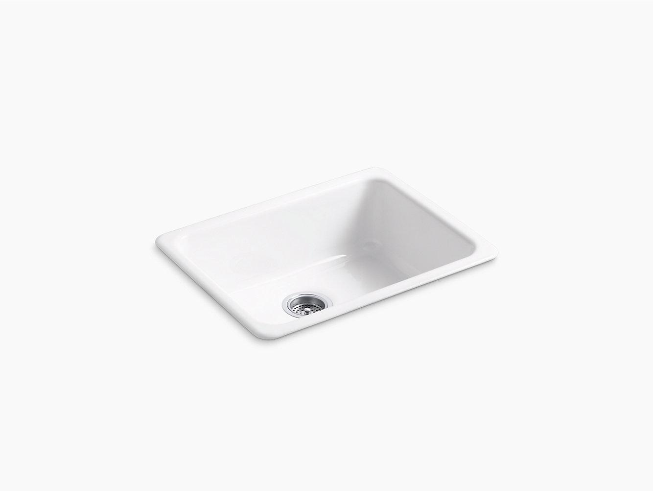 Kohler 6585 Iron Tones 24 1 4 X 18 3 8 Top Mount Under Single Bowl Kitchen Sink