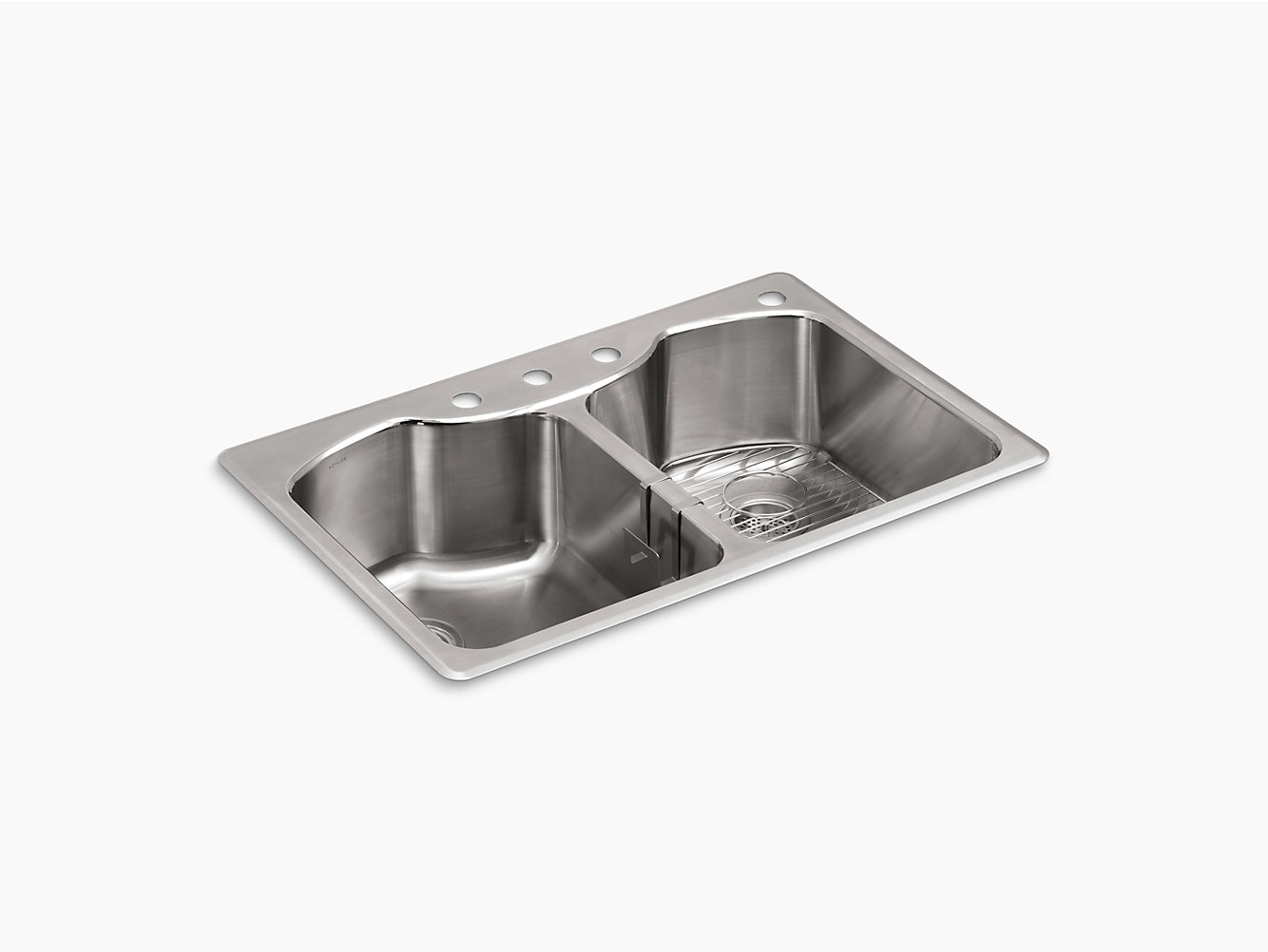 K-3842-4 | Octave Double Equal Top-Mount Sink with Four Faucet Holes ...