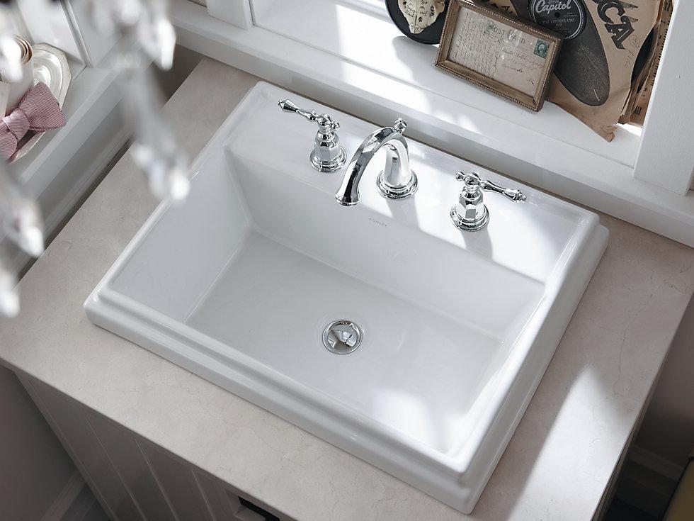 Kohler 2991 8 Tresham Rectangular Drop In Bathroom Sink With 8 Quot Widespread Faucet Holes