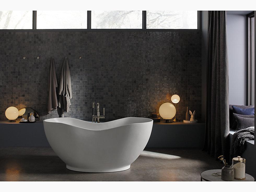 "kohler  1800  abrazo® 66"" x 32"" freestanding bath with"