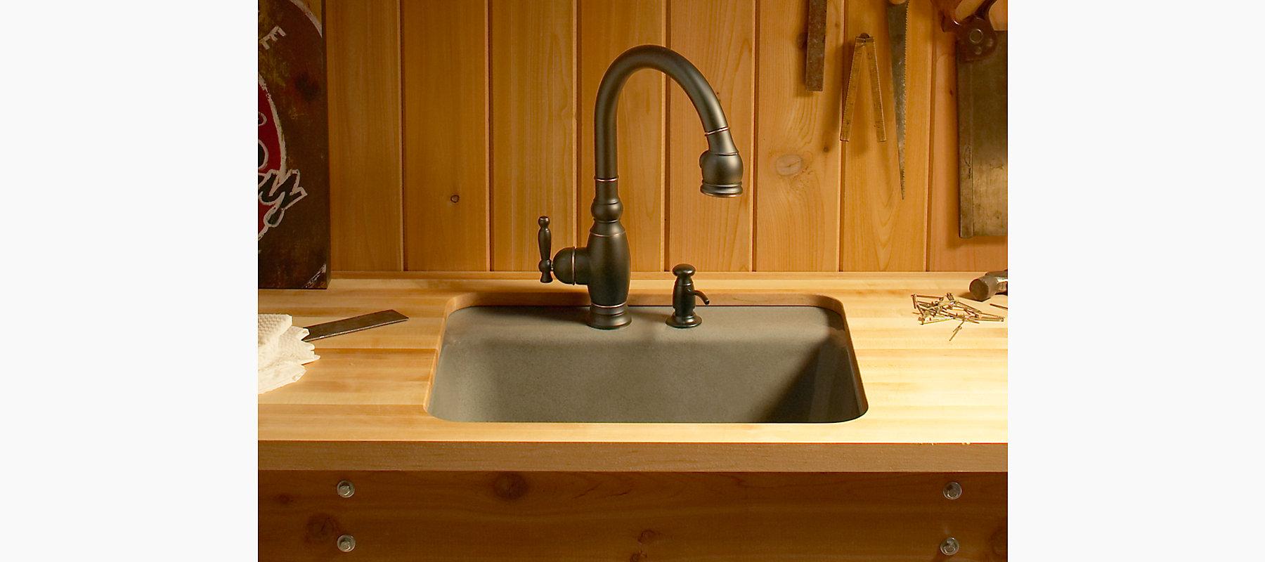 Glen Falls Under-Mount Utility Sink w/ Two Faucet Holes   K-6663-2U ...