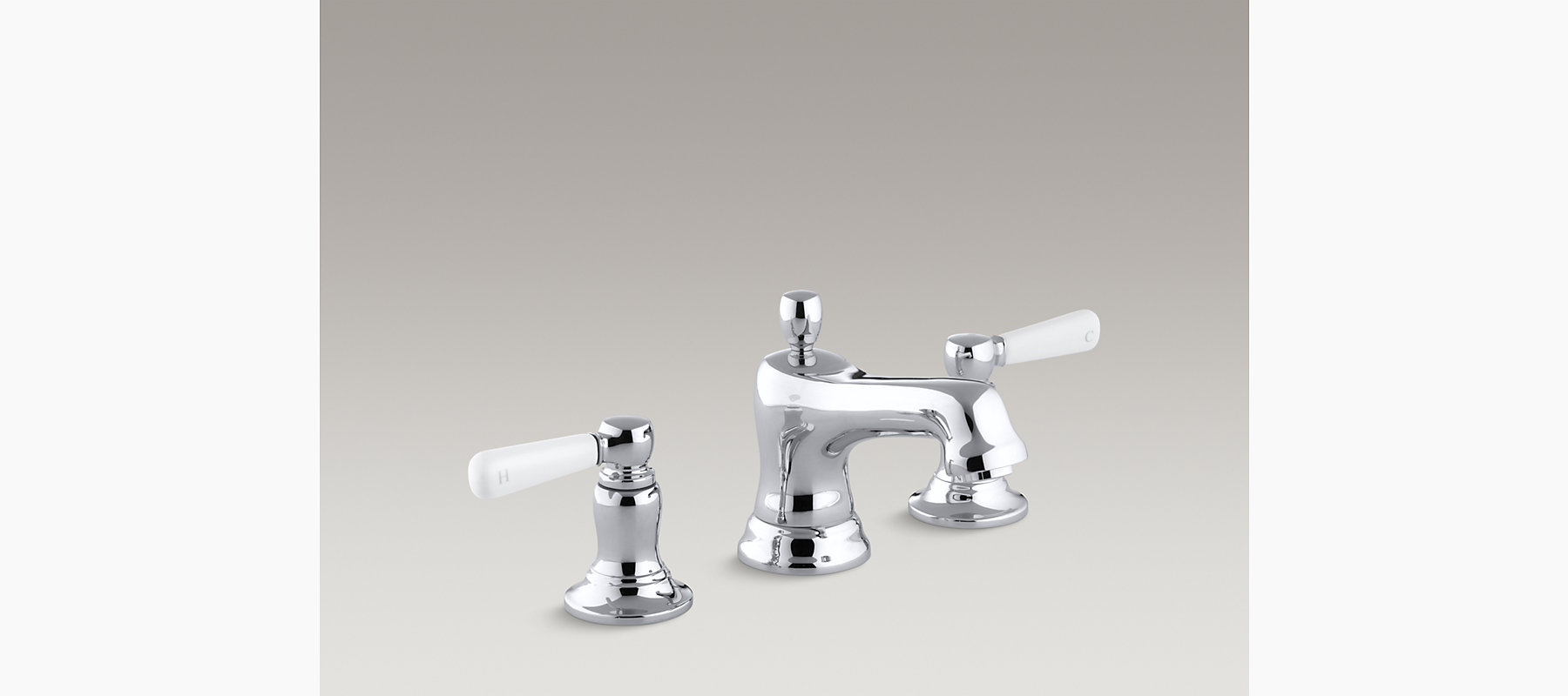 Bancroft widespread bathroom sink faucet with White ceramic lever ...