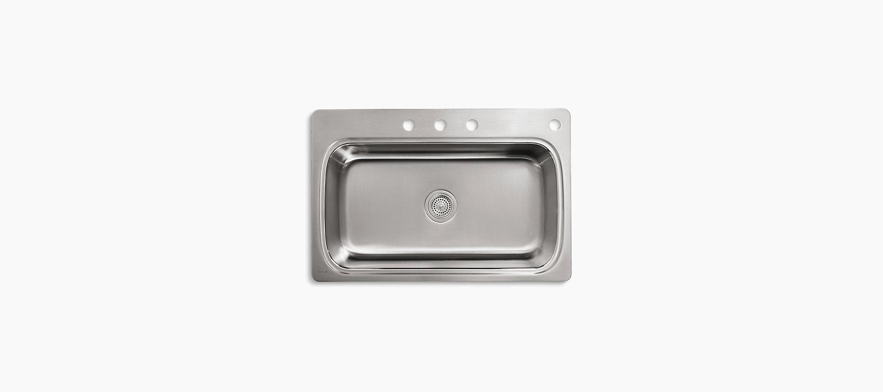 K-3373-4 | Verse Top-Mount Kitchen Sink, Four Faucet Holes | KOHLER