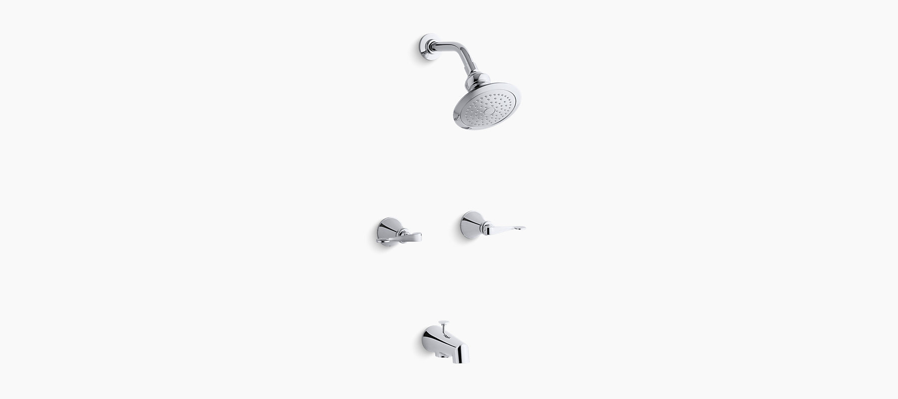 K-16213-4   Revival bath and shower faucet with scroll lever handles ...
