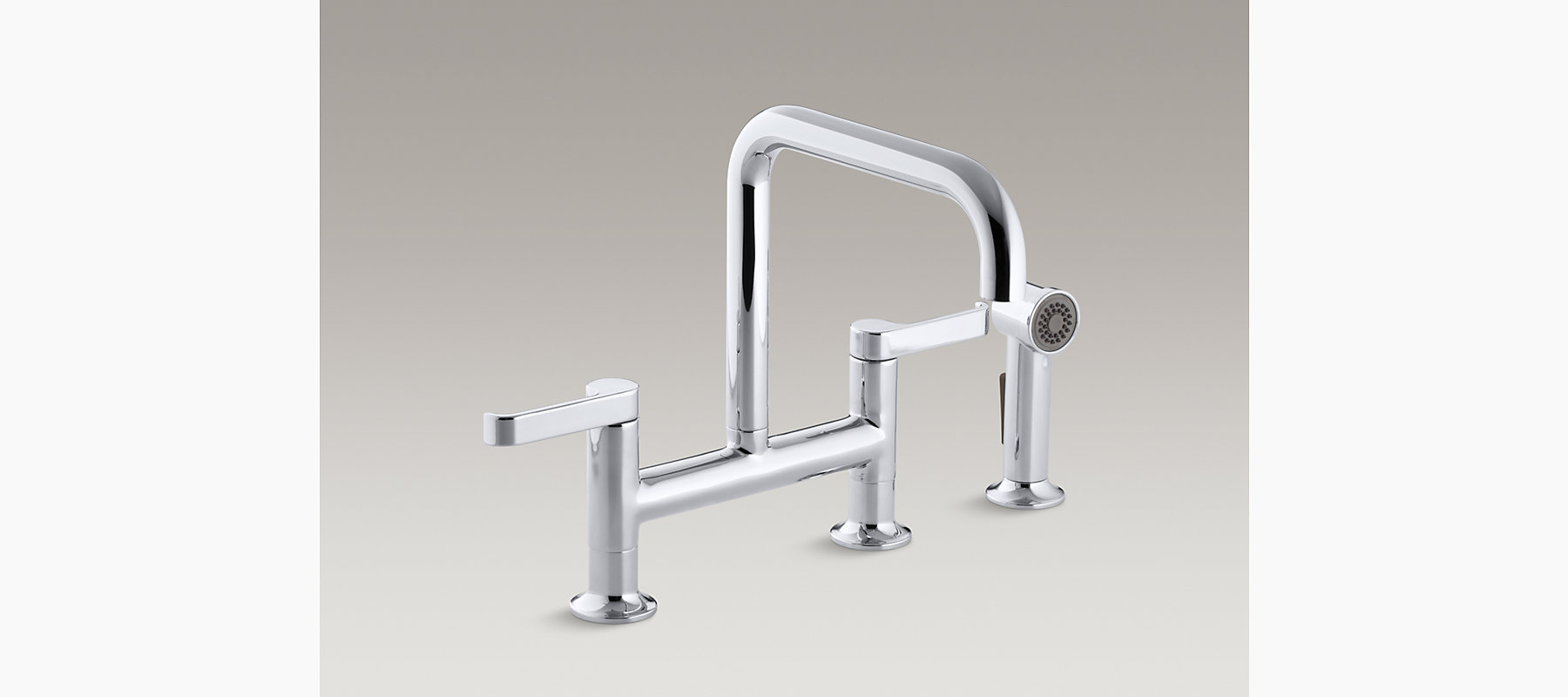 Torq Deck-Mount Bridge Kitchen Faucet with Sidespray | K-6126-4 ...