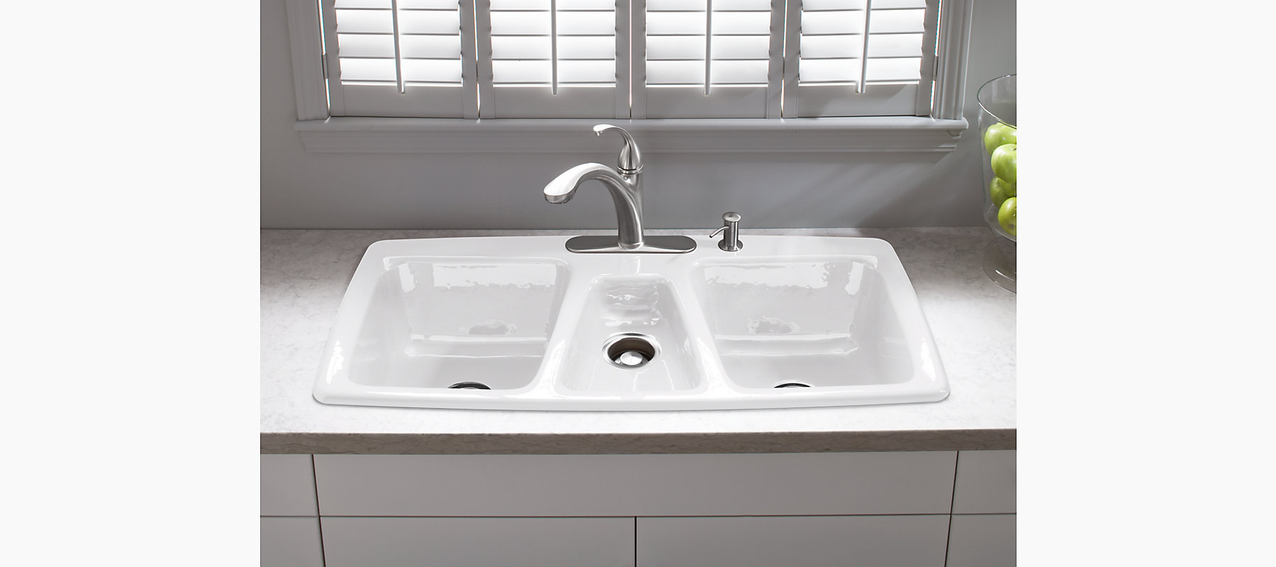 Trieste top mount kitchen sink with four faucet holes k for Best faucet for kitchen sink