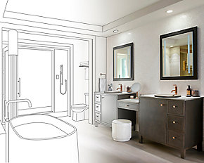 An image depicting a bathroom transitioning from a line art drawing to real fixtures and faucets.